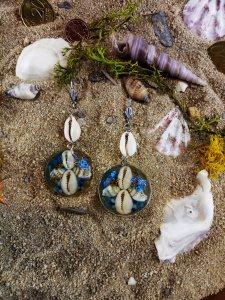 Schmuck-Set Halskette und Ohrringe mit Muschel-Engelchen aus Gießharz handgemacht kaufen