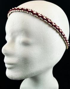 Haarband größenverstellbar für Kinder und Erwachsene weiß und weinrot handmade Makramee kaufen