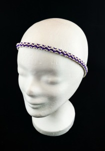 Haarband größenverstellbar für Erwachsene und Kinder weiß und lila handmade Makramee kaufen
