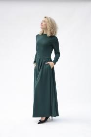 Langarm-Maxikleid, lässige Maxikleider, grünes Maxikleid mit Ärmeln, formelles grünes langes Kleid, langes elegantes Kleid, Winter-Maxikleid
