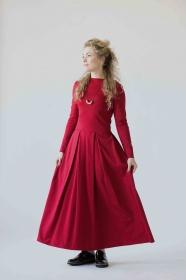 Langarm-Maxikleid, lässige Maxikleider, rotes Maxikleid mit Ärmeln, formelles rotes langes Kleid, langes elegantes Kleid, Winter-Maxikleid