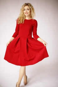 Rot langarm knielange kleider, lässige kleider, rotes knielanges kleid mit Ärmeln, formelles rotes knielanges Kleid, lelegantes Kleid, Winter-kleid