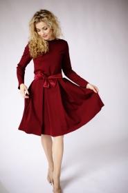 Burgundes knielange kleid, burgundes Kleid mit Ärmeln, lässige knielange kleider,  formelles langes Kleid, Winter-Maxikleid, eleganted Kleider fur Damen