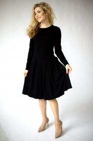 Schwarzes knielanges Kleid mit Ärmeln und Taschen, Langarm kleid, lässige kleider,  formelles schwarzes Kleid, Winter büro kleider