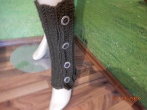 Beinstulpen für Sie und Ihn,handgestrickte Beinstulpen,Stulpen mit Knöpfen,olivfarbene Stulpen,