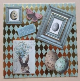 Osterkarte nostalgisch, quadratisch - Handarbeit kaufen