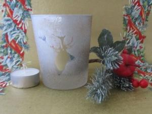 Teelicht, Votivlicht mit Kerze Motiv Hirsch, ohne Dekoration