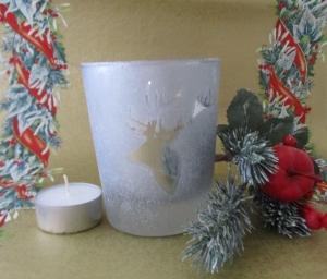 Teelicht, Votivlicht mit Kerze Motiv Hirschkopf, ohne Dekoration