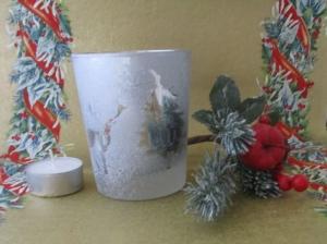 Teelicht, Votivlicht mit Kerze Motiv Hirsch und Tanne, ohne Dekoration