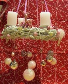 Adventskranz, groß, modern, Rosatöne, ca 42 cm - Handarbeit kaufen
