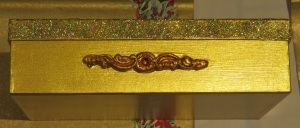 Weihnachten, Schachtel, gold / gold glitzer, ca 26 x 17 x 7 cm