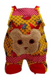 Latzhose in Okerfarben aus warmer Sweatware mit Teddykopf, für Kinder Grösse 56 bis 116
