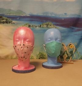 1 Mund-Nasen-Maske / Behelfsmaske für Kinder im Wende-Design Rosa-Ballerina / Mintgrün - Handarbeit kaufen
