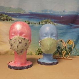 1 Mund-Nasen-Maske / Behelfsmaske für Kinder im Wende-Design Mint-Bären / Mintgrün - Handarbeit kaufen