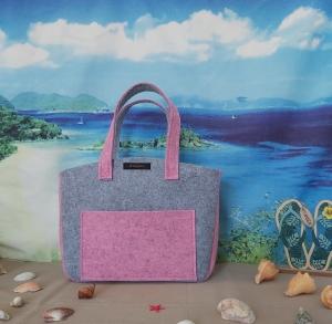 ♥ Filztasche ♥ Handtasche/ Schultertasche/ Shopper in Hellgrau/Rosa-Meliert ♥ Unikat ♥ - Handarbeit kaufen