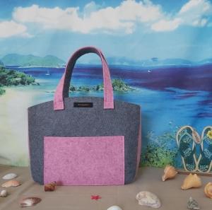 ♥ Filztasche ♥ Handtasche/ Schultertasche/ Shopper in Mittelgrau/Rosa-Meliert ♥ Unikat ♥ - Handarbeit kaufen