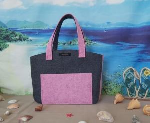 ♥ Filztasche ♥ Handtasche/ Schultertasche/ Shopper in Dunkelgrau/Rosa-Meliert ♥ Unikat ♥ - Handarbeit kaufen
