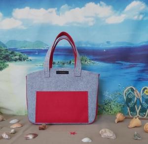♥ Filztasche ♥ Handtasche/ Schultertasche/ Shopper in Hellgrau/Rot ♥ Unikat ♥ - Handarbeit kaufen