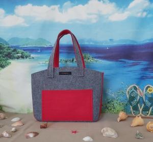 ♥ Filztasche ♥ Handtasche/ Schultertasche/ Shopper in Mittelgrau/Rot ♥ Unikat ♥ - Handarbeit kaufen