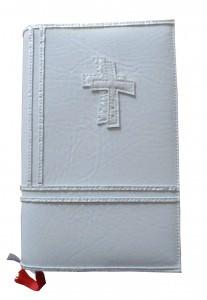 GH-006 Hülle für Gotteslob, Gesangbuch weiß/perlmutt Kreuz  Kunstleder