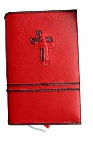 GH-005 Hülle für Gotteslob, Gesangbuch rot Kreuz Kunstleder