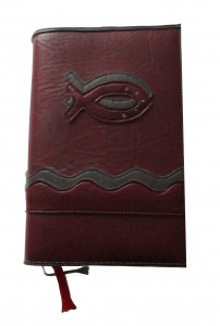 GH-004 Hülle für Gotteslob, Gesangbuch weinrot/grau Fisch Kunstleder