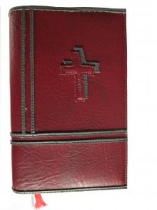 GH-011 Hülle für Gotteslob, Gesangbuch dunkelrot/grau Kreuz Kunstleder