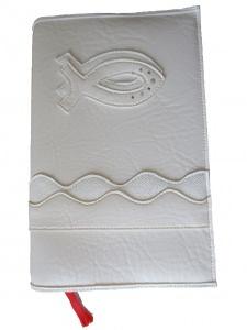 GH-012 Hülle für Gotteslob, Gesangbuch naturweiß/stoff Fisch Kunstleder