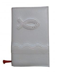 GH-013 Hülle für Gotteslob, Gesangbuch weiß/glitzer Fisch Kunstleder