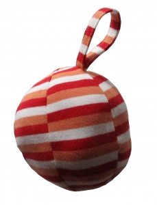 BG-001 selbst genähter farbenfroher Baby-Greifball rot/rosa/weiß gestreift
