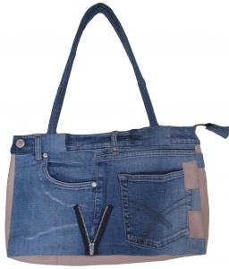 JT-001 Jeans-Tasche mit Kunstleder Modell 008 ca. 38X26 cm