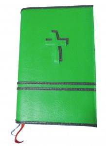 GH-014 Hülle für Gotteslob, Gesangbuch grün/schwarz Kreuz Kunstleder