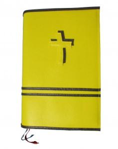 GH-015 Hülle für Gotteslob, Gesangbuch gelb/schwarz Kreuz Kunstleder