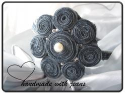 Jeans Haarreif mit Perlen, Einzelstück, handgemacht (Kopie id: 19155)
