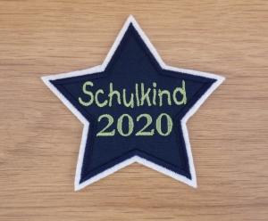 Aufnäher, Schulkind 2020, Farbauswahl, Applikation, Einschulung, Junge, Mädchen, gestickt, Stern