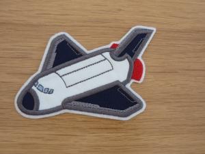 Aufnäher Space Shuttle, Weltraum, Junge, Schuleinführung, gestickt