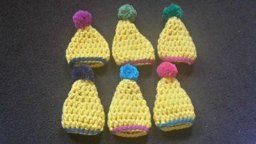 6 gehäkelte Eierwärme in gelb