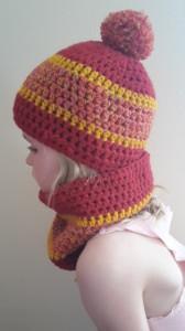 Gehäkelte Mütze und Loop für Kinder, Winter in rot bunt ocker gelb