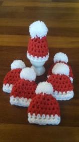 6 gehäkelte Eierwärmer in rot weiß Weihnachten Nikolaus