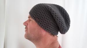 Gehäkelte Mütze Longbeanie für Männer, Winter anthrazith grau