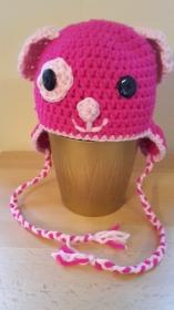 Gehäkelte Mütze für Kleinkinder für den Winter Hund Hündchen mit Ohrenklappen in pink rosa