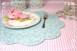~•♡•~Tischset ROSALIE - Mini Röschen in pastelltürkis 36 cm ~•♡•~