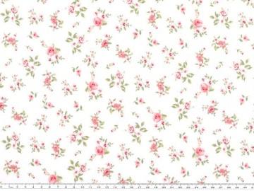 Wunderschöner Mathildas Welt - Baumwoll-Stoff - Röschen in weiß