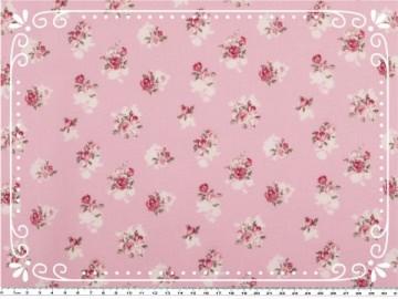 Wunderschöner Mathildas Welt - Baumwoll-Stoff - Kleine Rosen in rosa