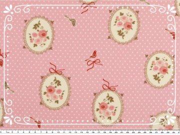 Wunderschöner Mathildas Welt - Baumwoll-Stoff - Shabby Rose Medaillon in rosa