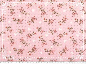 Wunderschöner Mathildas Welt - Baumwoll-Stoff - Röschen mit roter Schleife in rosa