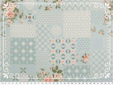 Wunderschöner Mathildas Welt - Baumwoll-Stoff - Patchwork Roses in pastelltürkis