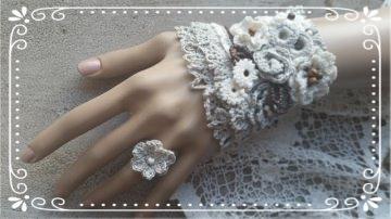 Wunderschönes Manschetten-Armband CAECILIA in grau natur