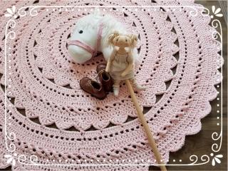 ♥ Häkelteppich MINOUX 150 cm aus reiner BW  ♥