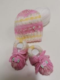 Set Babymütze + Babyschuhe Rosa-Gelb - Handarbeit kaufen